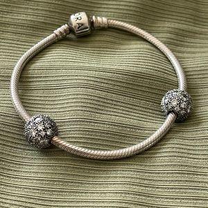 Pandora Sterling Silver Bracelet w/Barrel Clasp